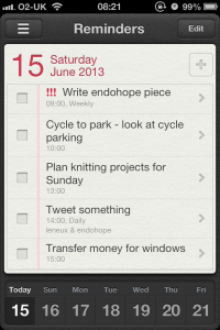 My phone reminders for 15 June 2013